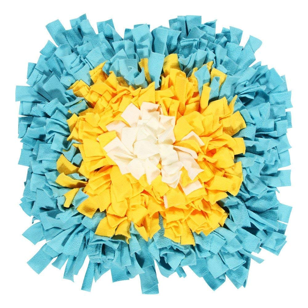 Dog Snuffle Mat, Hand Woven Dog Sniffing Pad,Nose Work Smell Snuffle Mat Training Feeding Foraging Skill Blanket Pet Play Mats Puzzle Toys 45 X 45Cm (Yellow bluee)