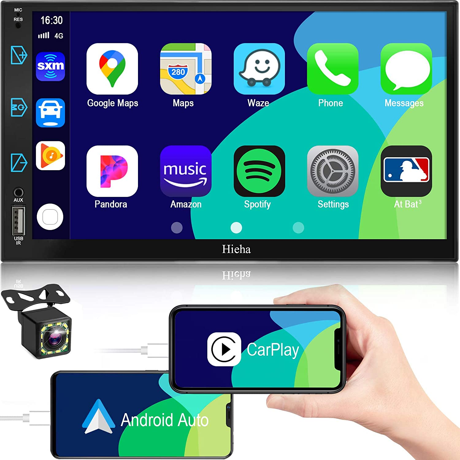Car Stereo Compatible with Apple CarPlay&Android Auto, 7 inch Double Din Stereo, Voice Control, Touch Screen Car Radio with Backup Camera, Hieha Digital Media Receivers Bluetooth|A/V Input|AM|FM|SWC