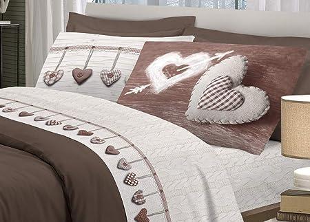 Biancheriaweb - Juego de sábanas 100% algodón, diseño de corazón colgado: Amazon.es: Hogar