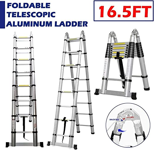 15.5FT Folding Extension Telescoping Ladder Aluminum 16 Steps W//2 Work Platforms