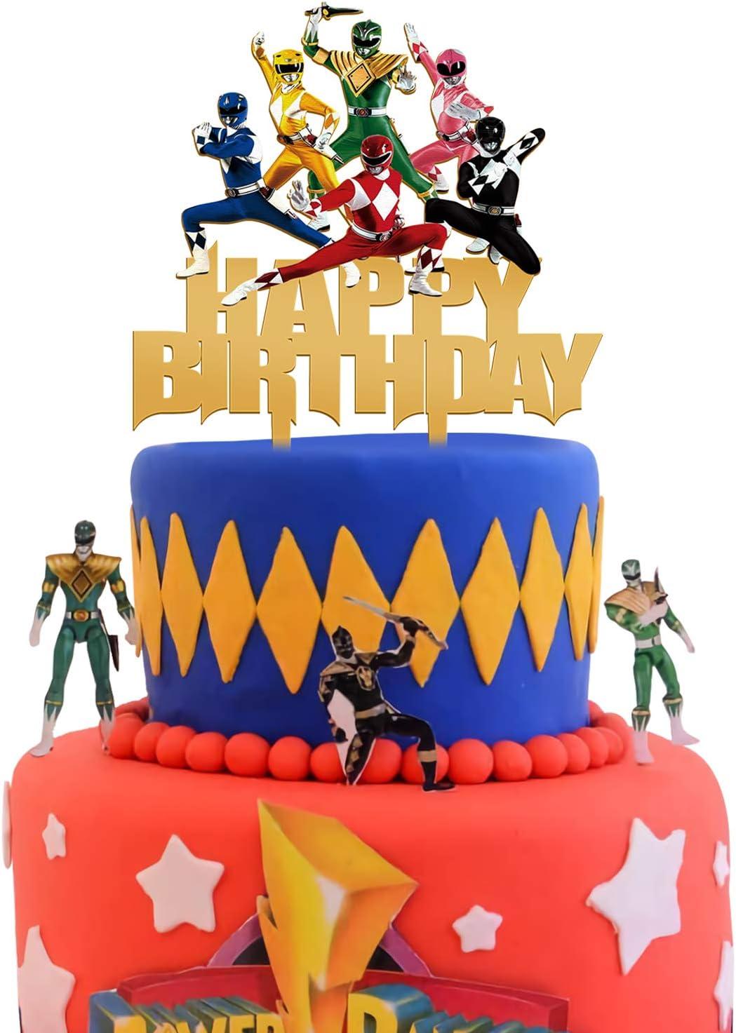 Amazon Com Acrylic Power Rangers Happy Birthday Cake Topper Power Rangers Cake Topper Boys And Girls Birthday Party Supplies Superhero Themed Party Favor Toys Games