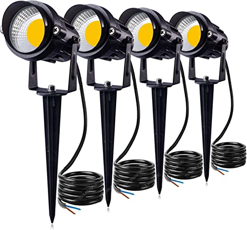 SUNVIE 12W LED Landscape Lighting Low Voltage AC DC 12V Waterproof Garden Pathway Lights Super Warm White 900LM Walls Trees Flags Outdoor Spotlights with Spike Stand 4 Pack