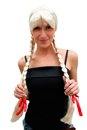 Party/Fancy WIG ME UP - Peluca RUBIA, trenzas largas, Alpes, Heidi, Holanda.PW0094-P4: Amazon.es: Juguetes y juegos