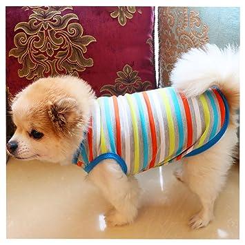 Sannysis Ropa Perro, Gatos Accesorios Ropa de Abrigo Perro Camiseta de algodón Ropa Navidad pequeños Chihuahua Perros Ropa Chaleco de Rayas Mascotas Perros ...