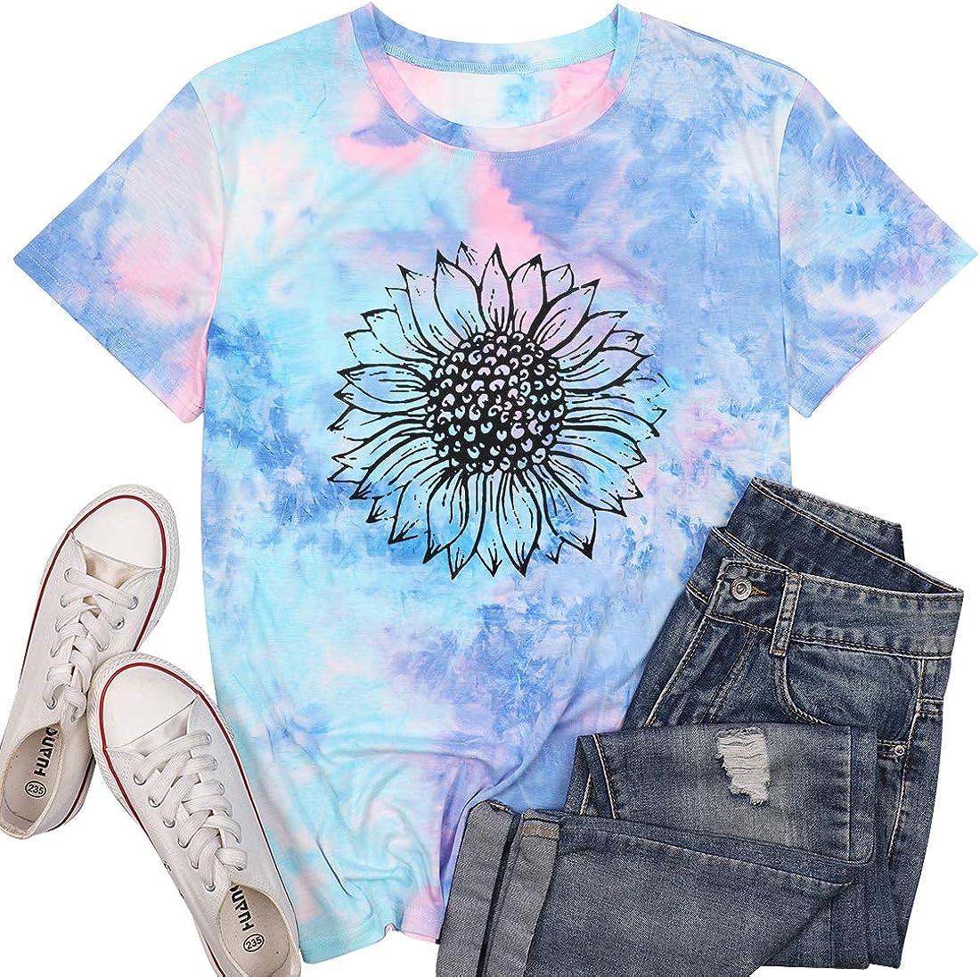 Sunflower Tie Dye Short Sleeve Shirt