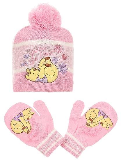 32ce98ff675d Bonnet et moufles bébé fille Winnie l ourson Violet et Rose de 0 à 9mois