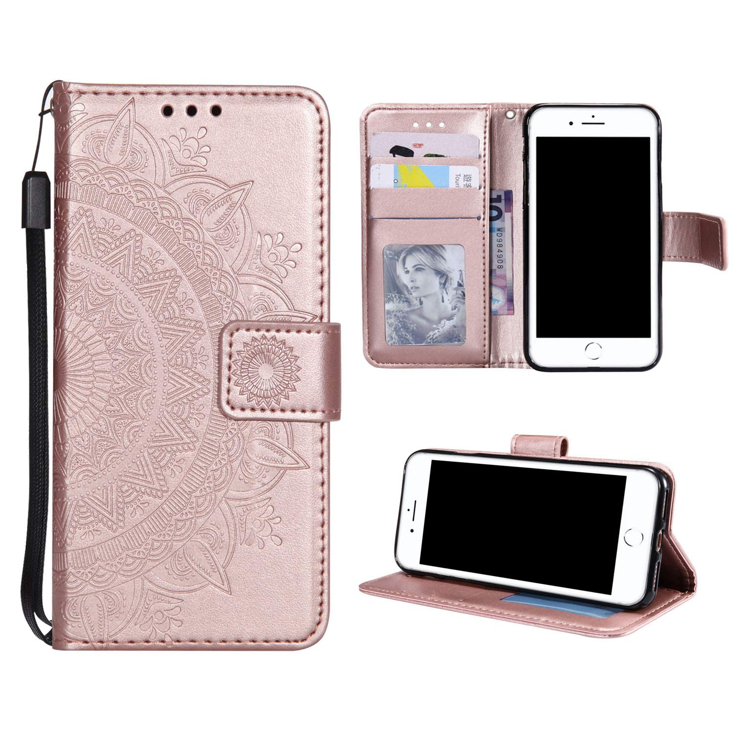 Case for iPhone 7 Plus PU Leather Flip Wallet Cover, Mistars for iPhone 8 Plus Tribal Mandala Flower Pattern Embossed Full Body Protection Cove with Card Holder Kickstand Magnetic Closure Shell Inner Soft TPU Silicone Bumper for Apple iPhone 7 Plus / 8 Plu