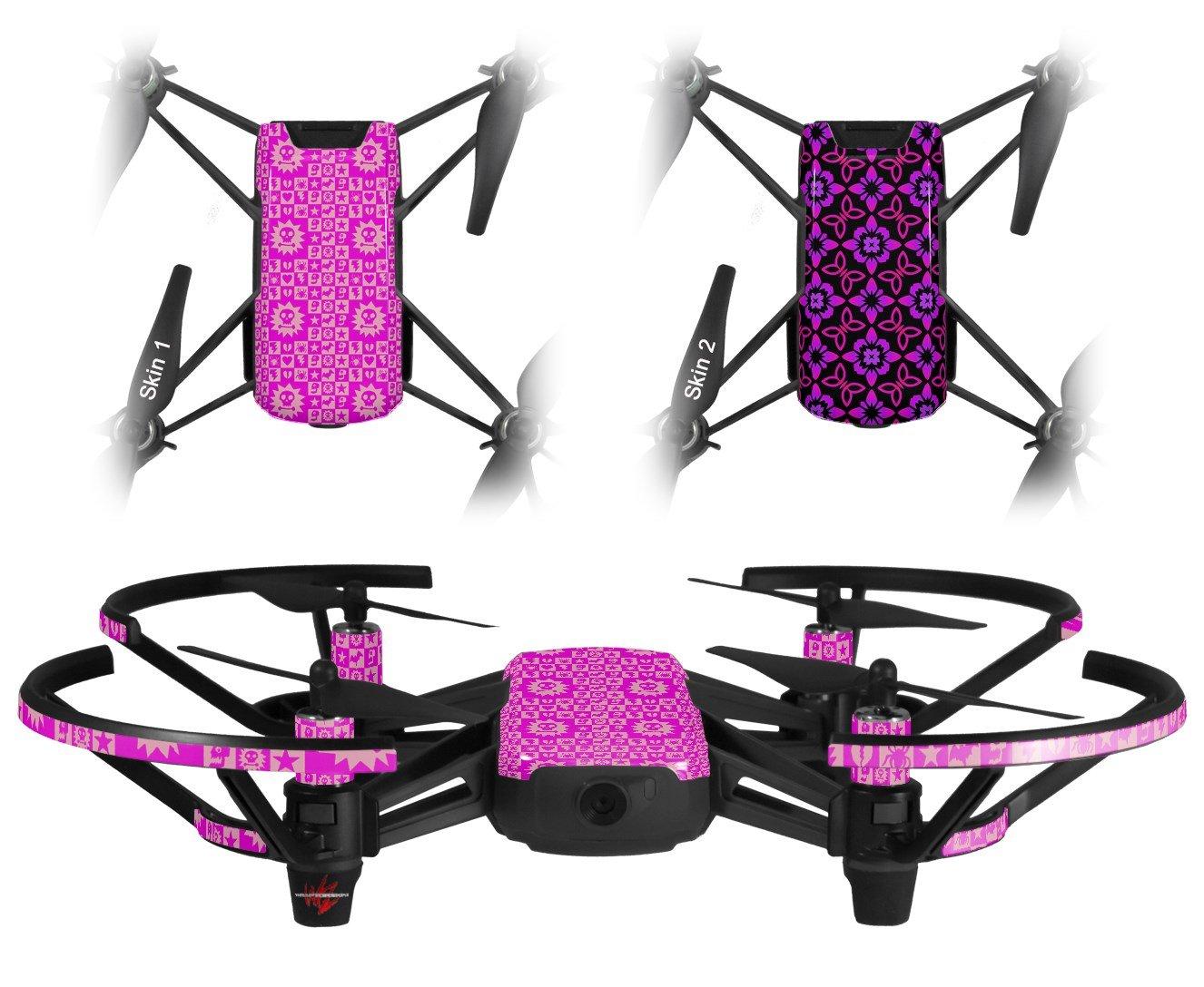 スキンデカールラップ2パックfor DJI Ryze Tello DroneゴシックパンクパターンピンクDrone Not Included B07CKVJWZ9