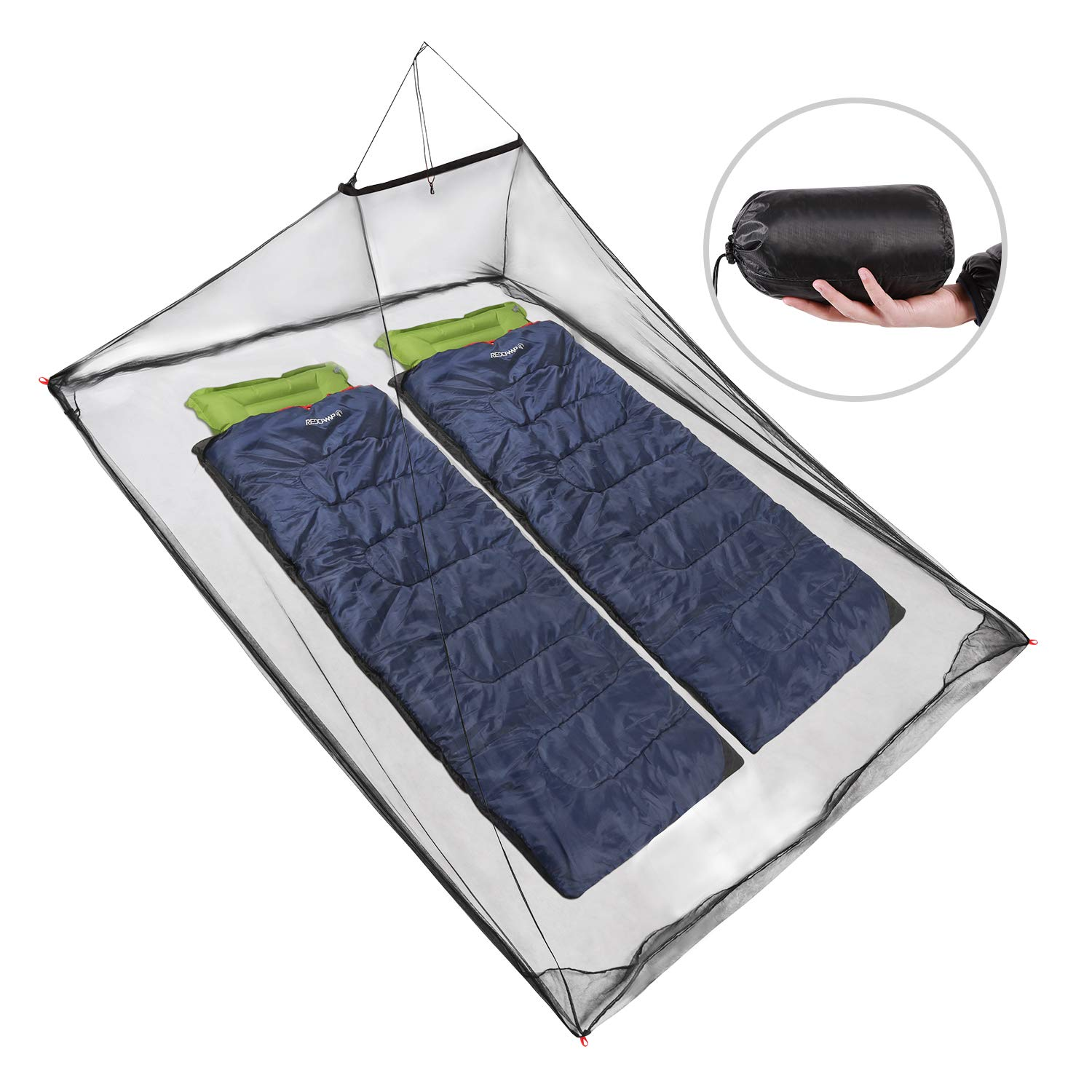 REDCAMP Double Camping Mosquito Net for Sleeping Bag or Bed, Compact and Lightweight Hanging Triangle Pyramid Net, Black by REDCAMP