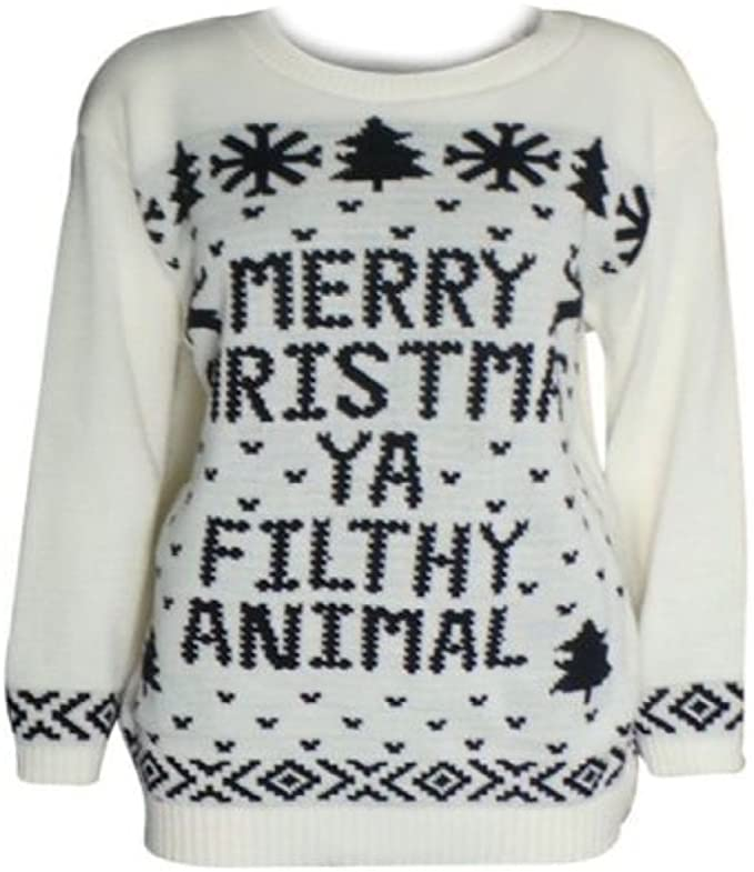 eefab5f212f28 NEUF ENFANTS FILLES GARÇONS MERRY CHRISTMAS YA FILTHY ANIMAL NOËL PULL  TAILLE 5-14  Amazon.fr  Vêtements et accessoires