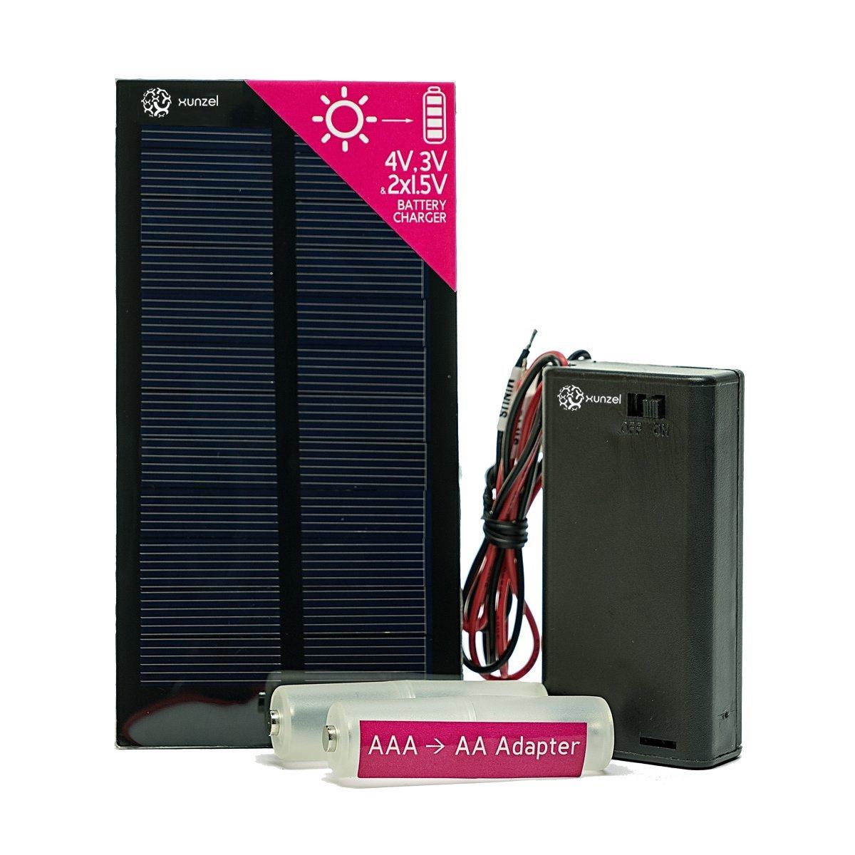Cargador de batería micro solar Xunzel 2 x AA/AAA, kit de ...