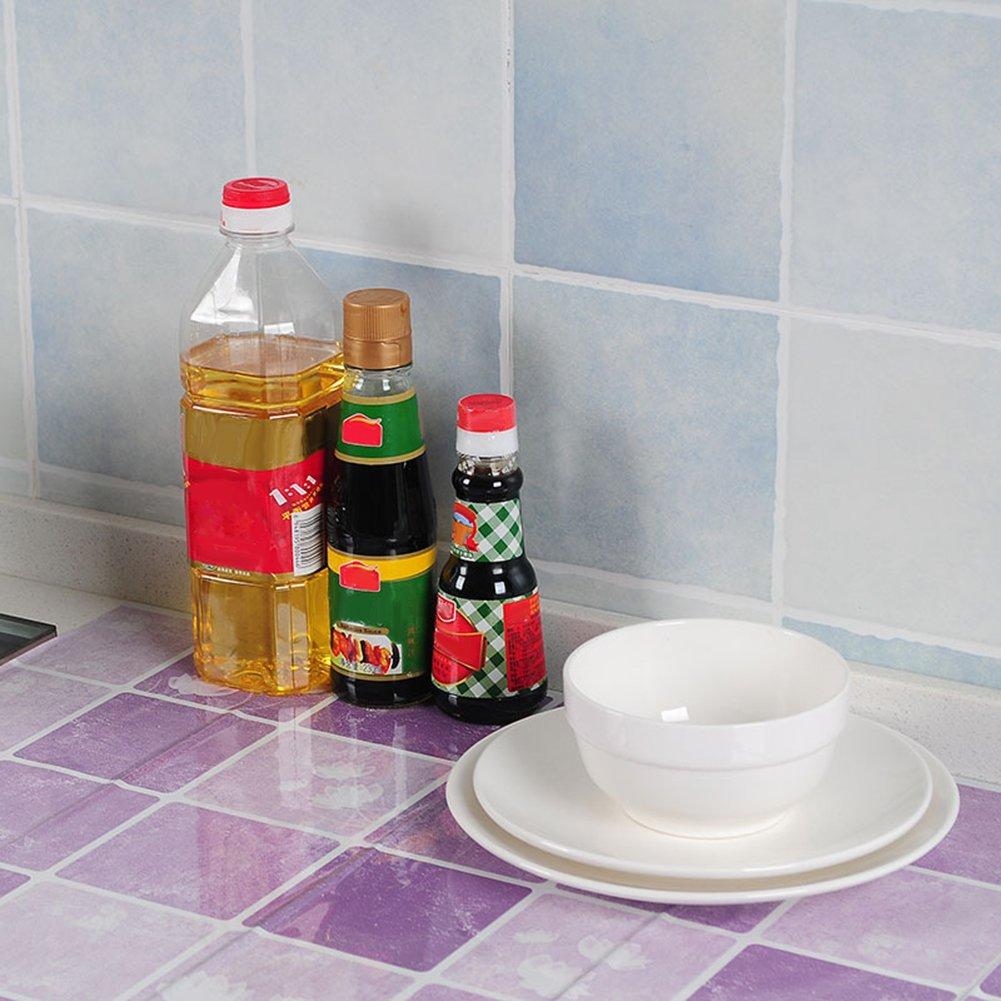 Beiguoxia Anti-graisses Autocollant mural imperm/éable Stickers pour carrelage de cuisine DIY Plaid Pattern Taille unique Green