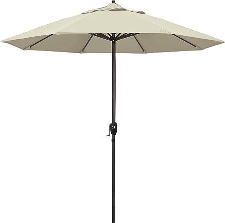 Amazon Com California Umbrella 9 Round Aluminum Market Umbrella Crank Lift Auto Tilt Bronze Pole Antique Beige Olefin Patio Umbrellas Garden Outdoor