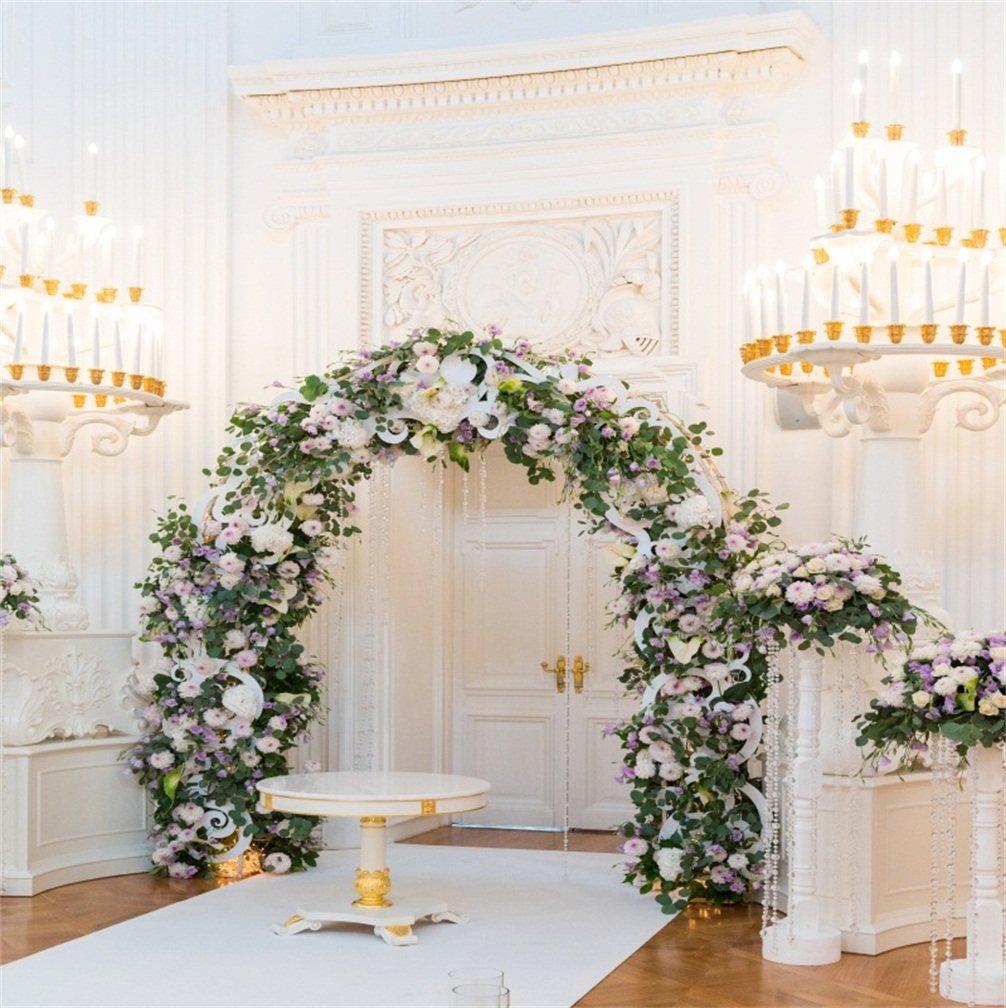 csfoto 5 x 5ft背景for Wedding Ceremony Hall Luxury Marriageインドア写真バックドロップCelebrate幸福美しいパーティーロマンチックSweet準備Photo Studioプロップビニール壁紙   B07F57X9S7