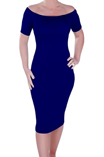 Corinna Womens Off the Shoulder Bardot Style Stretch Bodycon Dress