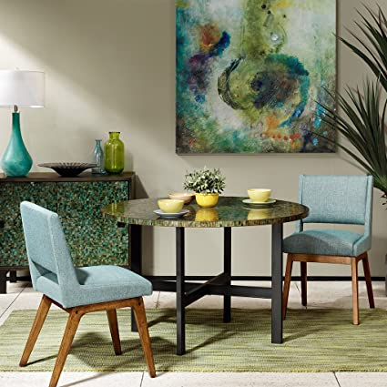 INK+IVY Mosaic Round Dining Table Green See Below