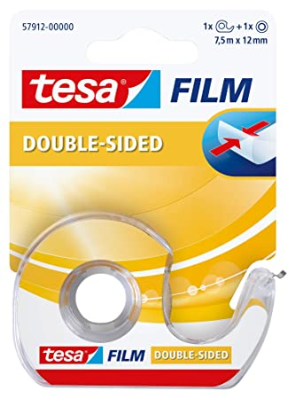 Cinta de doble cara tesafilm con dispensador (7,5m x 12 mm): Amazon.es: Oficina y papelería
