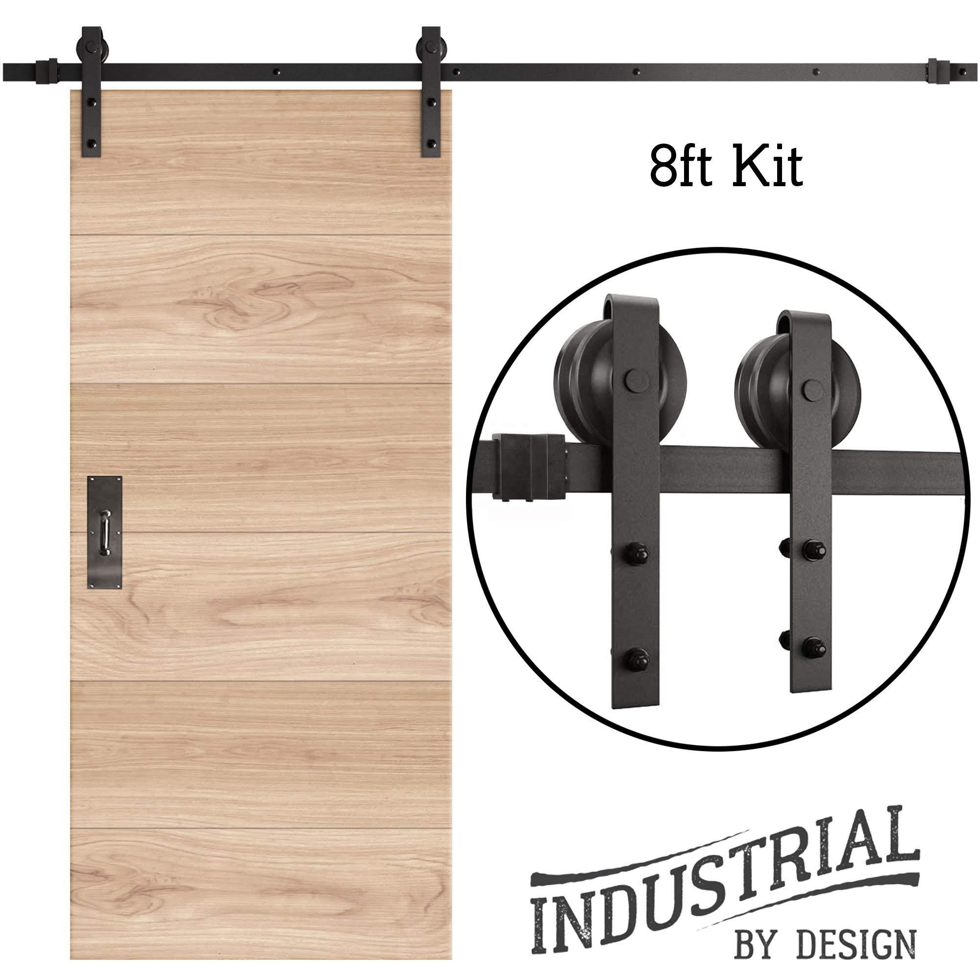 8-Foot Heavy Duty Sliding Barn Door Hardware Kit Black ▫ Includes Easy Video ▫ ▫