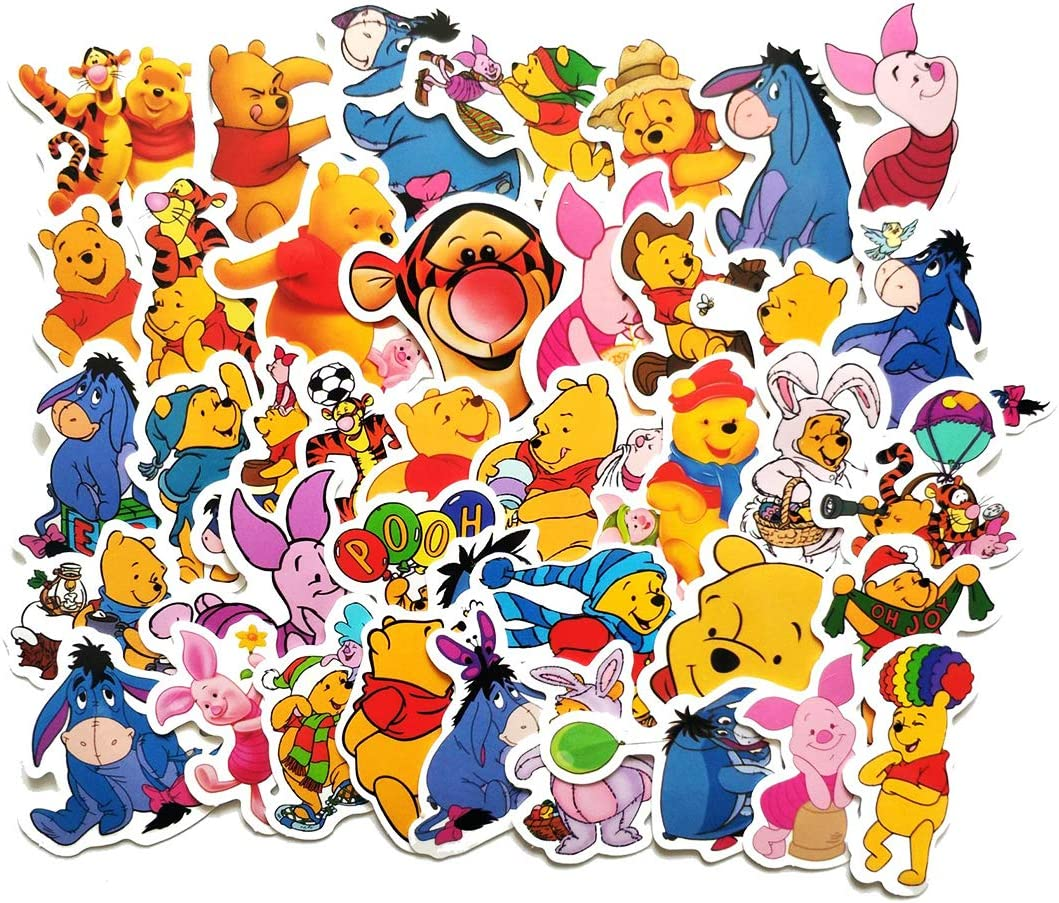 SEBADA 40Pcs Winnie The Pooh and Tigger Stickers for Laptop Motorcycle Bicycle Skateboard Luggage Decal Graffiti Patches[No-Duplicate Sticker Pack] HWJ