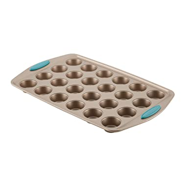 Rachael Ray Cucina Nonstick Bakeware 24-Cup Bite-Size Baker, Latte Brown, Agave Blue Handle Grips
