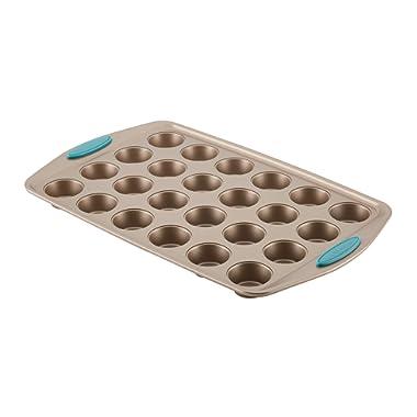 Rachael Ray 47549 Cucina Nonstick 24-Cup Muffin Tin With Grips / Nonstick 24-Cup Cupcake Tin With Grips - 24 Cup, Brown