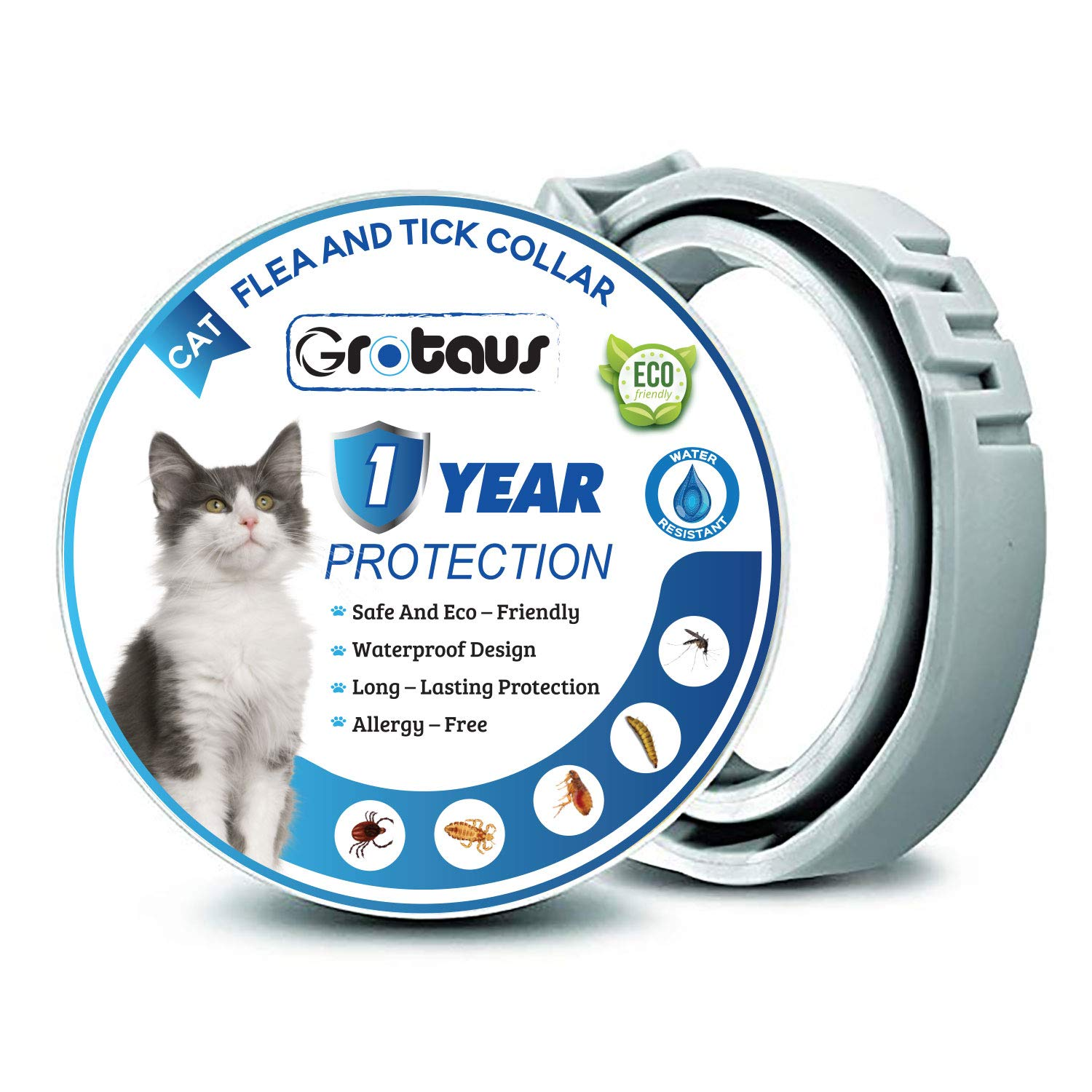 GROTAUS Flea and Tick Collar for Cats - Effective for All Sized Cats - 12 Months Flea and Tick Collar Prevention - Waterproof Flea and Tick Control Collar - 100% Natural Treatment