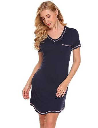 new concept d69cb e1c08 EKOUAER Damen Nachthemd Kurzarm Sleepshirt Nachtwäsche kurz Nachtkleid aus  Baumwolle