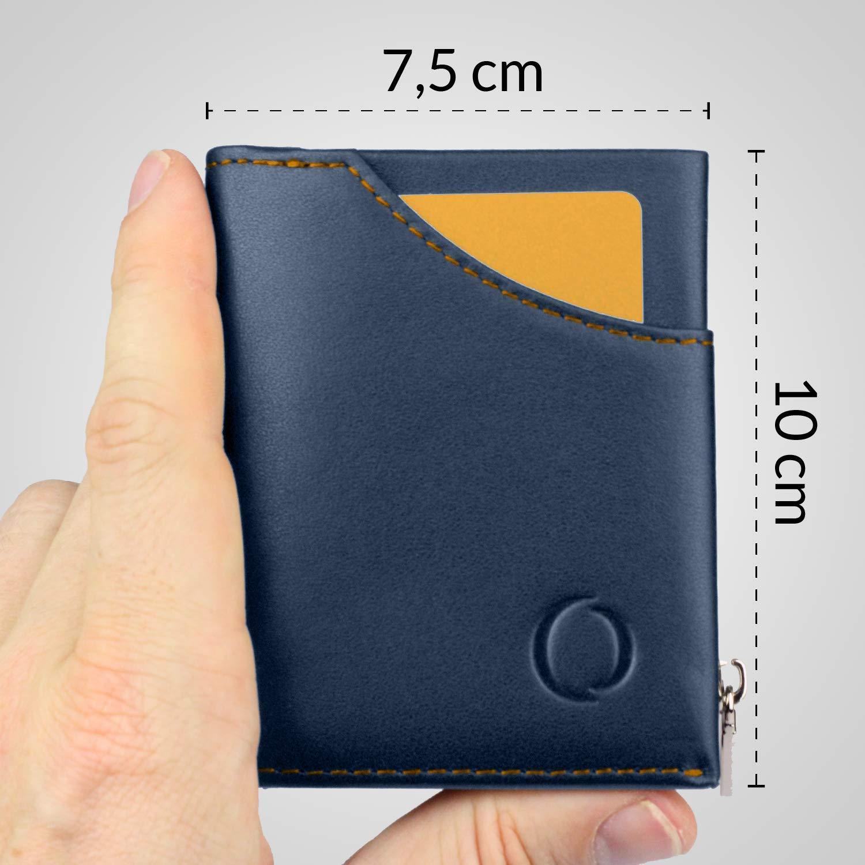 Cartera pequeña con Monedero para Hombre - Billetera de Piel con Tarjetero RFID y Monedero con Cremallera, Regalos para Hombre, Azul/Naranja