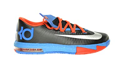 2607c985d475 Amazon.com  Nike KD VI (GS) Big Kids Sneakers Black Metallic  Silver-Orange-Blue 599477-002 (6 M US)  Shoes