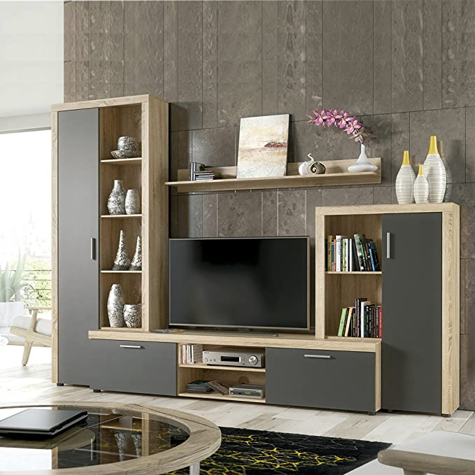 HomeSouth - Mueble de Comedor, Salon Modelo Nobel, Acabado Color Cambria y Blanco, Medidas: 263 x 202 x 40 cm Fondo.