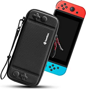 tomtoc Carry Case for Nintendo Switch, Ultra Slim Hard Shell with 10 Game Cartridges, Protective Carrying Case for Travel, Portable Pouch with Original Patent and Military Level Protection, Black