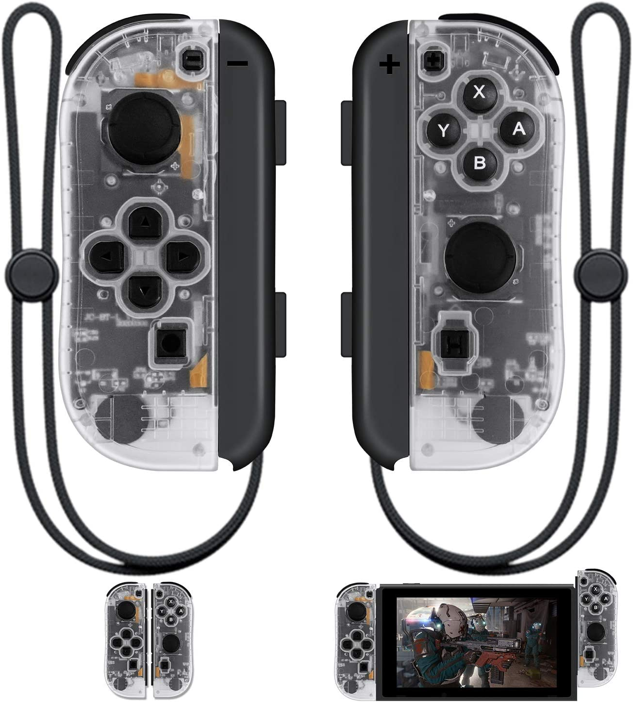 SINGLAND Joy Con Wireless Controller Replacement for Nintendo Switch,Left&Right Remote with Wrist Strap Support Wake-up Function(Transparent)