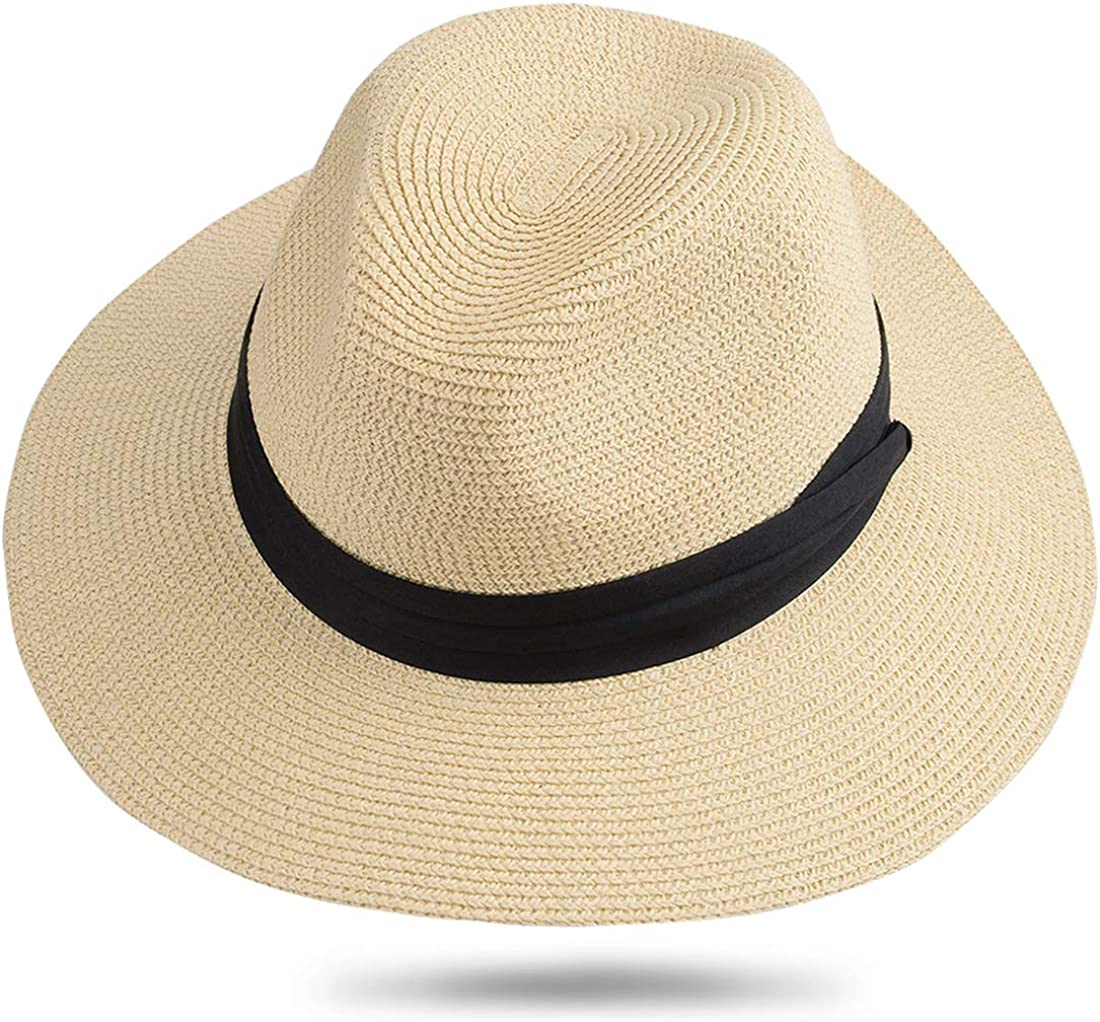 Wide Brim Straw Panama Hat Khaki Straw Cowboy Hat-Natural Roll Women/'s Summer Foldable Straw Sun Visor Beach Sun Hat UPF50