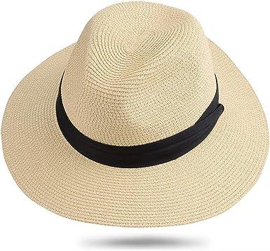 Sun Hats Women Beach Hat Fedora Panama Hat Summer Straw Cap Wide Brim Foldab...
