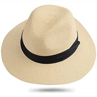 d7ee9f316 Maylisacc Panama Hat Rollable 58cm Straw-Fedora Summer Beach Sun Hats for  Men Women