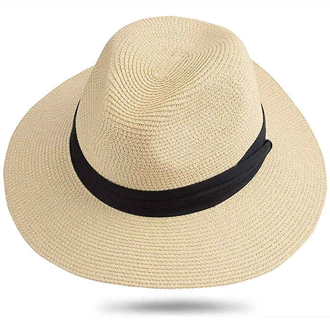922d59fea4b349 Maylisacc Panama Hat Women Men Packable Summer Beach Sun Protection Hats  for Travel Jazz Offwhite (