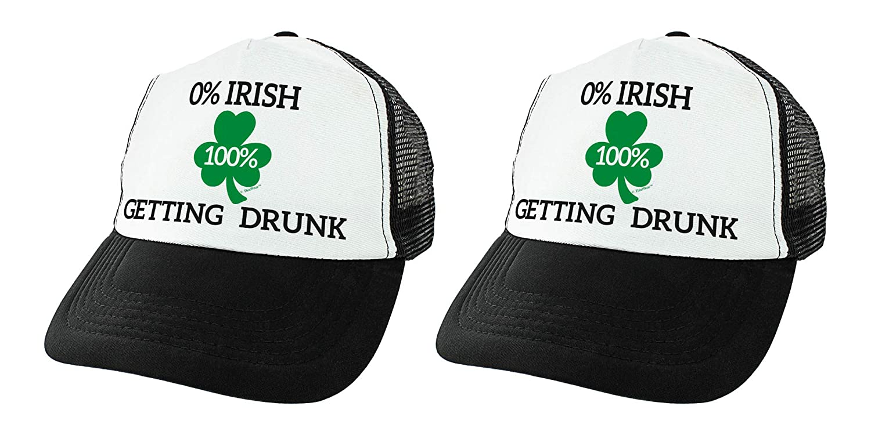 698d0983b2a1c Amazon.com  St Patricks Day Accessories 0% Irish 100% Drunk Hat Shamrock Hat  Irish Beer Drinking Trucker Hat Black  Clothing