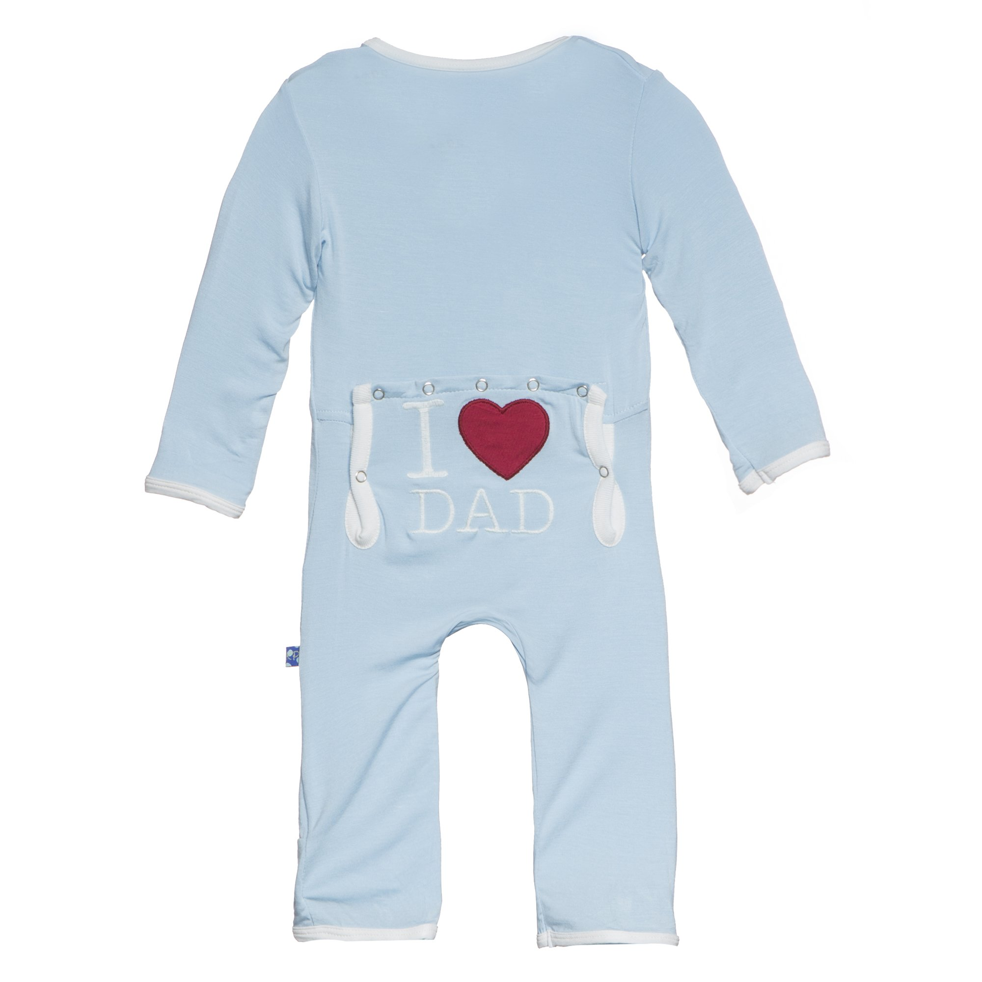 Kickee Pants Baby Boys' Fitted Applique Coverall in Pond I Love Dad, 3-6M