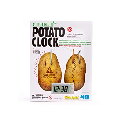 4M Potato Clock DIY Green Science Chemistry Engineering Lab - STEM Toys Educational Gift for Kids & Teens, Girls & Boys, Brown: Toys & Games