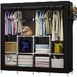 منظم ملابس كبير/ خزانة الملابس المحمولة من يودير مع 6 رفوف للتخزين، 4 اقسام تعليق و4 جيوب جانبية