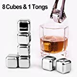 Whiskey Chilling Stones, oobest Reusable Chilling Stones Ice Cubes / Sipping Rocks / Cooler Whiskey Stones Stainless Steel 8PCS & 1 Tong for Whiskey Wine Juice Drinking