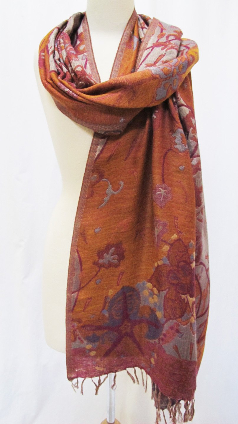 ''Misty Floral'' Silk Merino Wool Shawl Stole Scarf Wrap Purple Copper by Ashiana (Image #2)