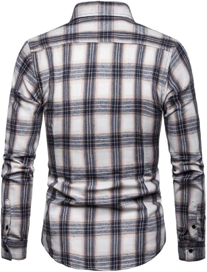 BYWX Men Classic Long Sleeve Plus Size Plaid Button Shirt Blouse Tops