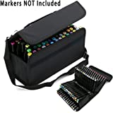 BTSKY Handy 80 Slot Carrying Marker Case Holder for Primascolor Marker and Copic Marker--Fits for Markers Pen from 15mm to 22mm Diameter(Black)