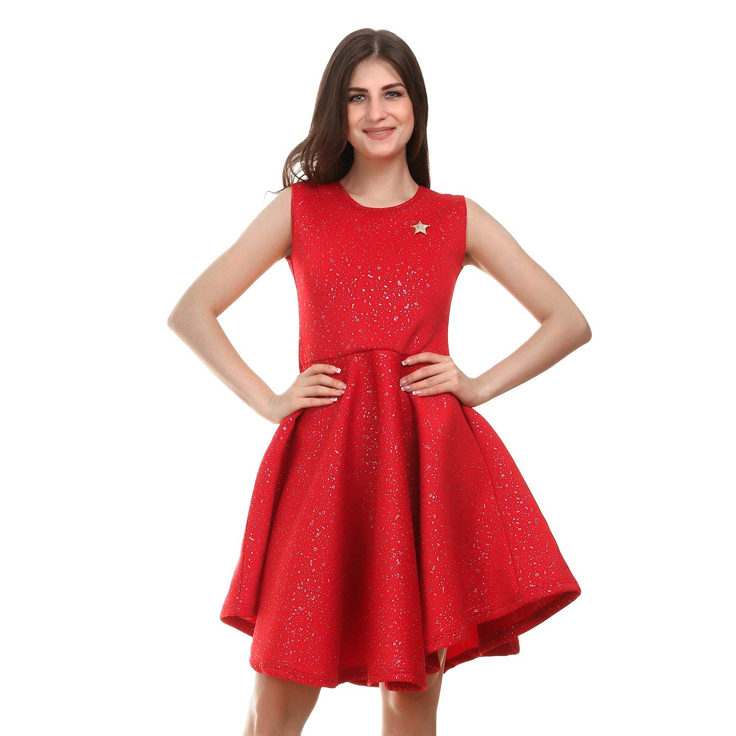 Stylewhile Red Color Polyester Mini Dress For Girls