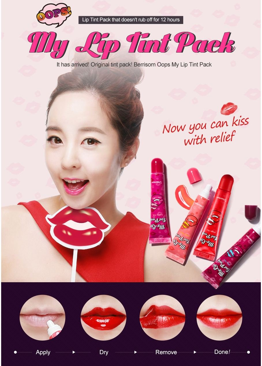 [Berrisom] Oops! My Lip Tint Pack (Lip Tatoo) #Virgin Red(Real Red)+#Bubble Pink(Cherry Pink)+#Lovely Peach(Pink Orange) 3pcs SET
