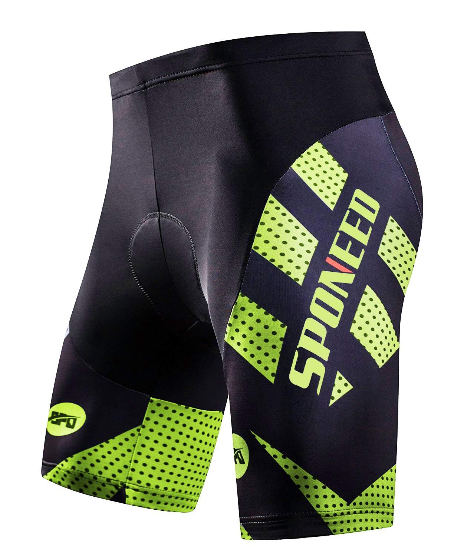 sponeed Padded Bike Shorts Men Tights Bicycle Race Half Pants Bottoms Bike Gear Riding Chamois Asia M/US S Green