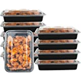 1 Compartment 24 oz Portion Control Lunch Box and Food Storage Container Set -Black- 10 Pack