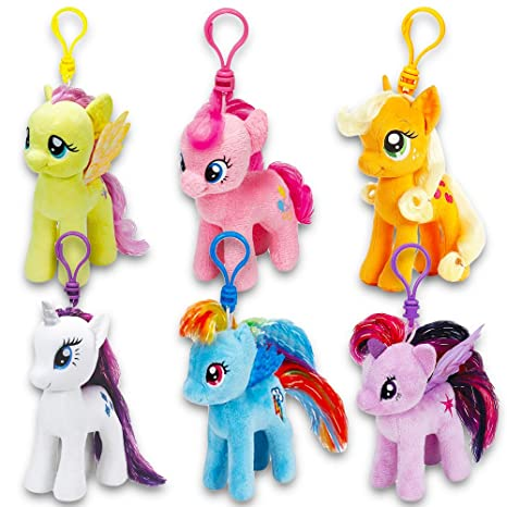 b1fcf59331a Amazon.com  Ty My Little Pony Plush Beanie Babies Set -- Collection of 6 My  Little Pony 4 Inch Plush Toys with Clip  Toys   Games
