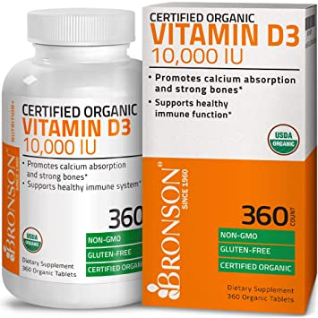 Bronson Vitamin D3 10,000 IU Certified Organic Vitamin D Supplement,  Non-GMO Gluten Free